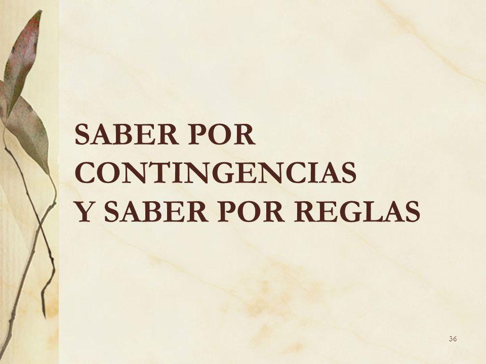 SABER POR CONTINGENCIAS Y SABER POR REGLAS 36