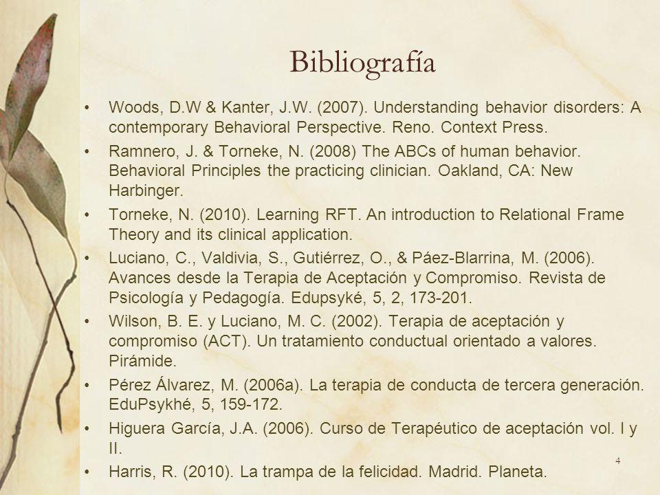 Bibliografía Woods, D.W & Kanter, J.W.(2007).