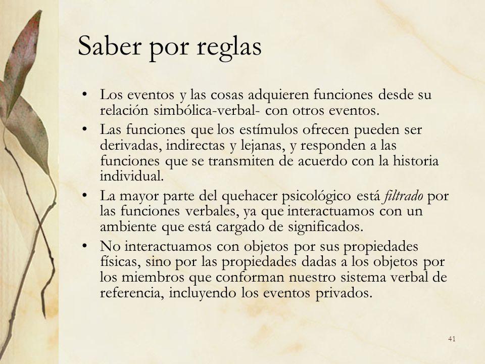 Saber por reglas Los eventos y las cosas adquieren funciones desde su relación simbólica-verbal- con otros eventos. Las funciones que los estímulos of