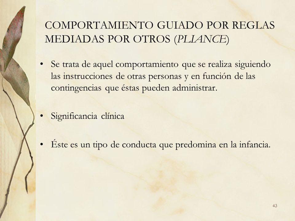 COMPORTAMIENTO GUIADO POR REGLAS MEDIADAS POR OTROS (PLIANCE) Se trata de aquel comportamiento que se realiza siguiendo las instrucciones de otras per