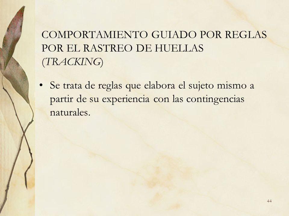 COMPORTAMIENTO GUIADO POR REGLAS POR EL RASTREO DE HUELLAS (TRACKING) Se trata de reglas que elabora el sujeto mismo a partir de su experiencia con la