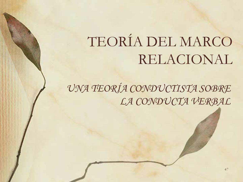 TEORÍA DEL MARCO RELACIONAL UNA TEORÍA CONDUCTISTA SOBRE LA CONDUCTA VERBAL 47