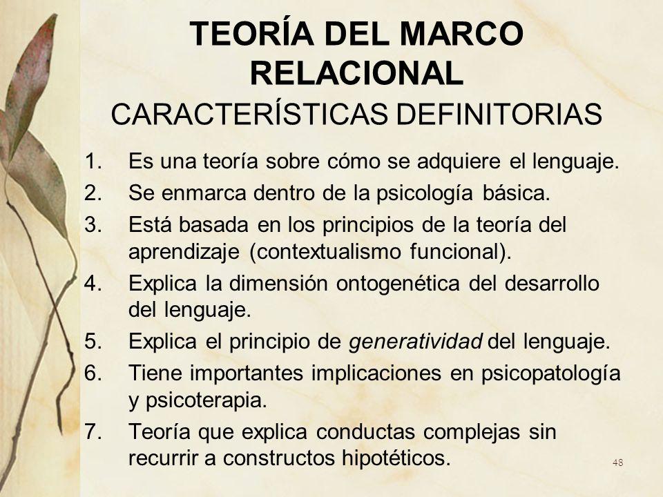 TEORÍA DEL MARCO RELACIONAL CARACTERÍSTICAS DEFINITORIAS 1.Es una teoría sobre cómo se adquiere el lenguaje. 2.Se enmarca dentro de la psicología bási