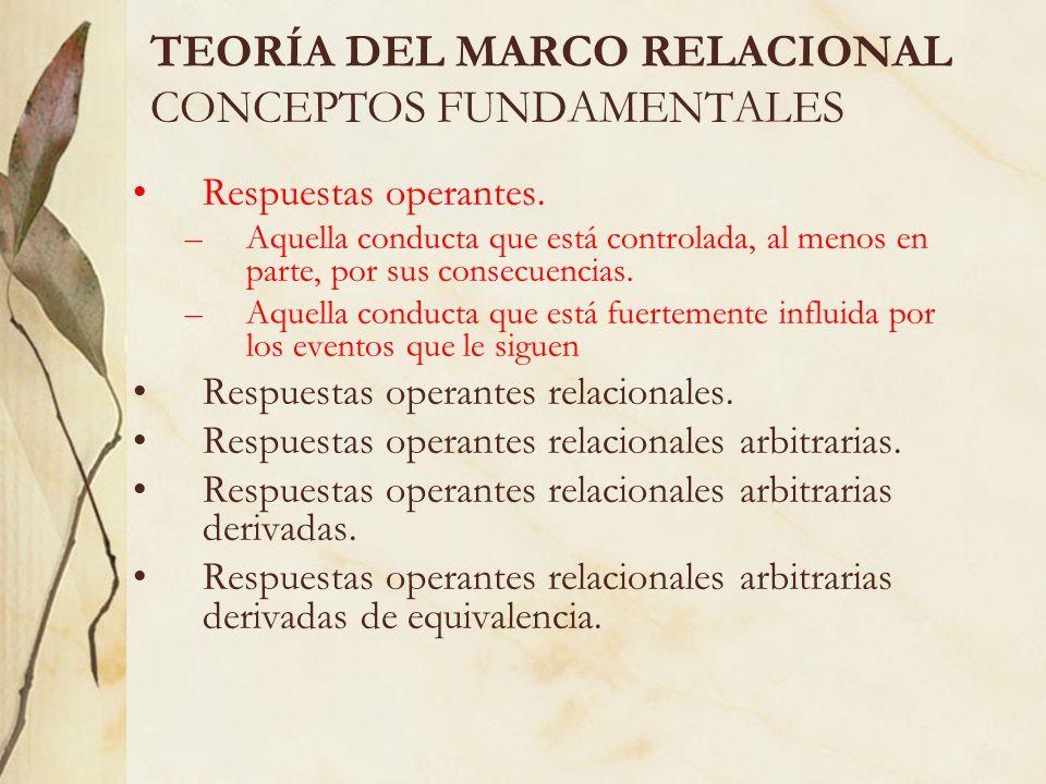 TEORÍA DEL MARCO RELACIONAL CONCEPTOS FUNDAMENTALES Respuestas operantes. –Aquella conducta que está controlada, al menos en parte, por sus consecuenc