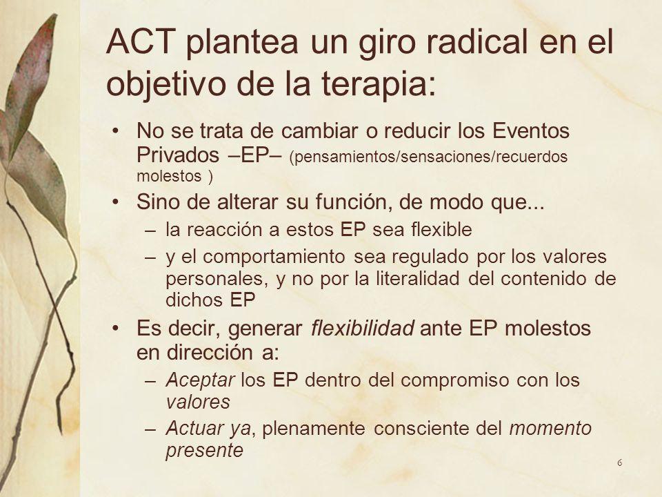 ACT plantea un giro radical en el objetivo de la terapia: No se trata de cambiar o reducir los Eventos Privados –EP– (pensamientos/sensaciones/recuerd