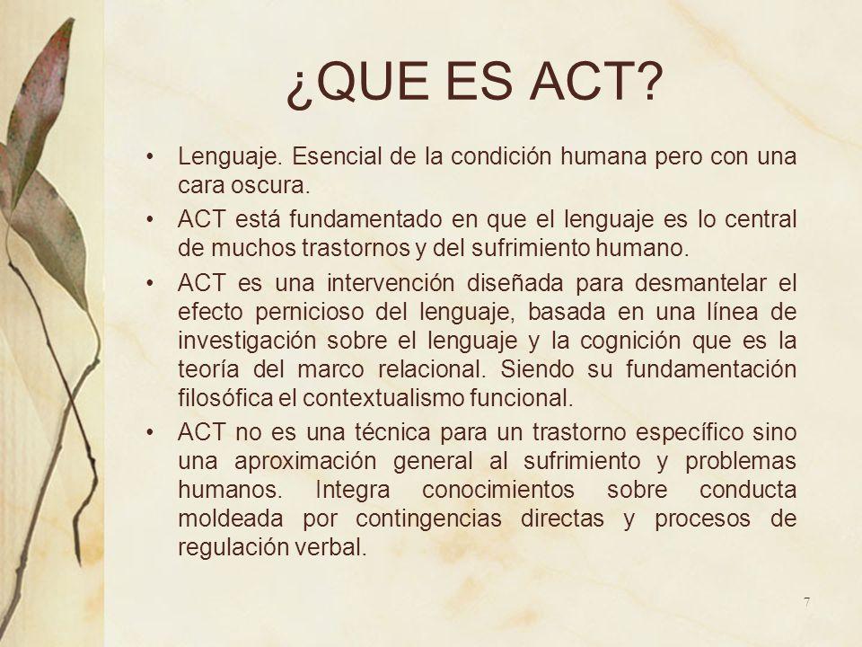 ¿QUE ES ACT? Lenguaje. Esencial de la condición humana pero con una cara oscura. ACT está fundamentado en que el lenguaje es lo central de muchos tras