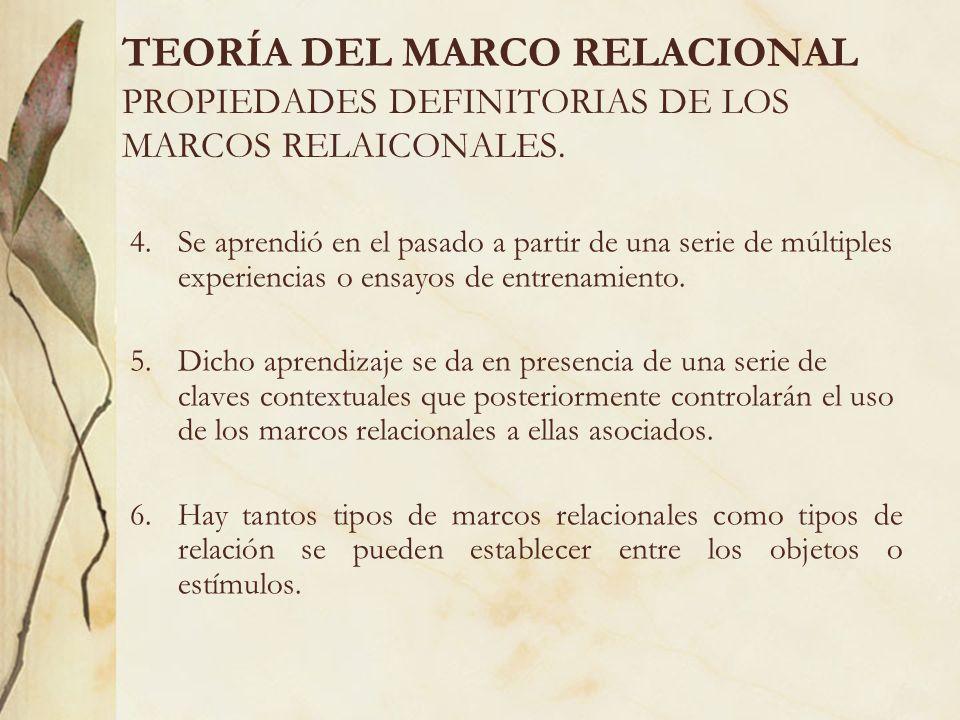TEORÍA DEL MARCO RELACIONAL PROPIEDADES DEFINITORIAS DE LOS MARCOS RELAICONALES. 4.Se aprendió en el pasado a partir de una serie de múltiples experie