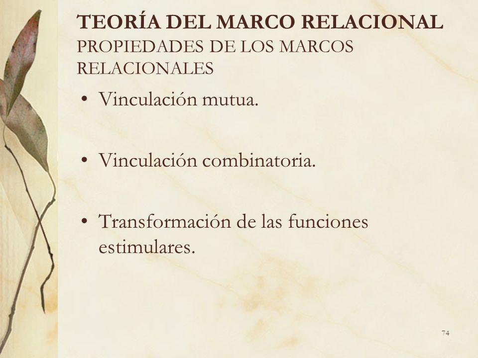 74 TEORÍA DEL MARCO RELACIONAL PROPIEDADES DE LOS MARCOS RELACIONALES Vinculación mutua. Vinculación combinatoria. Transformación de las funciones est