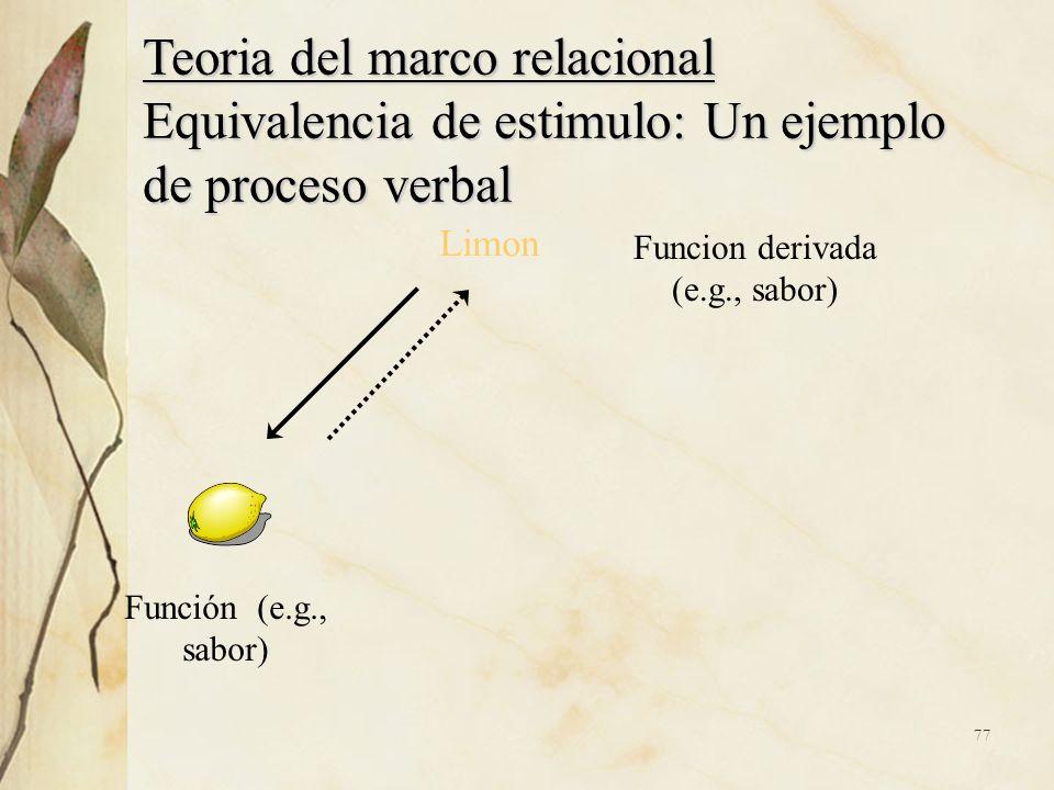 Teoria del marco relacional Equivalencia de estimulo: Un ejemplo de proceso verbal Limon Función (e.g., sabor) Funcion derivada (e.g., sabor) 77