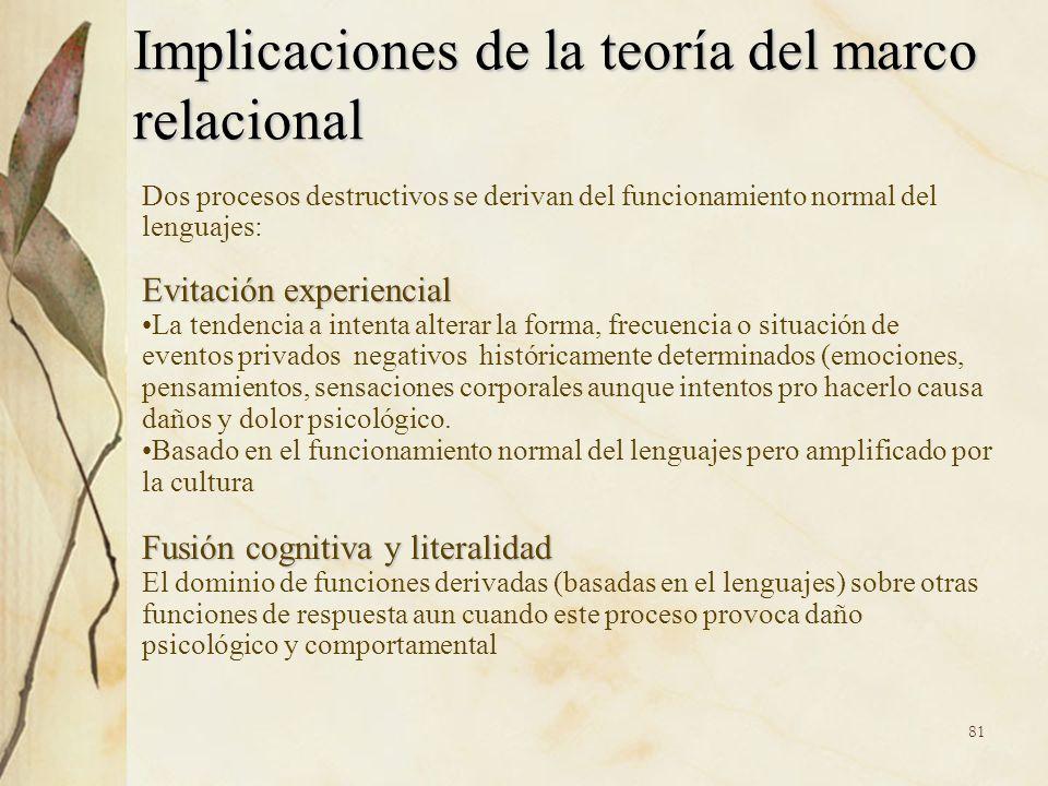 Implicaciones de la teoría del marco relacional Dos procesos destructivos se derivan del funcionamiento normal del lenguajes: Evitación experiencial L