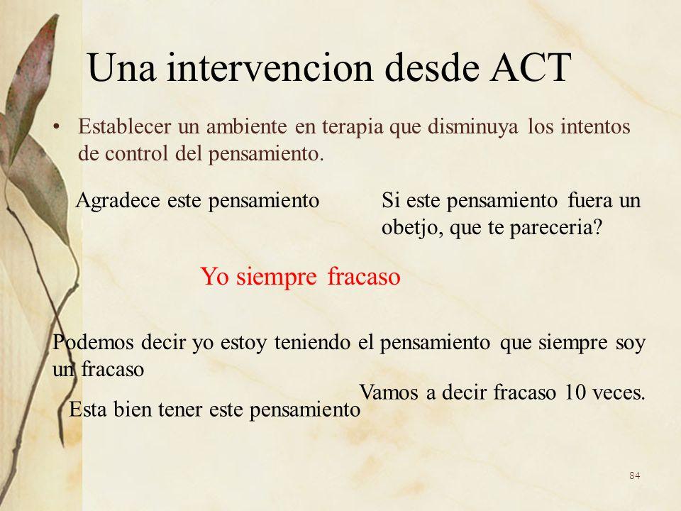 Una intervencion desde ACT Establecer un ambiente en terapia que disminuya los intentos de control del pensamiento. Yo siempre fracaso Agradece este p