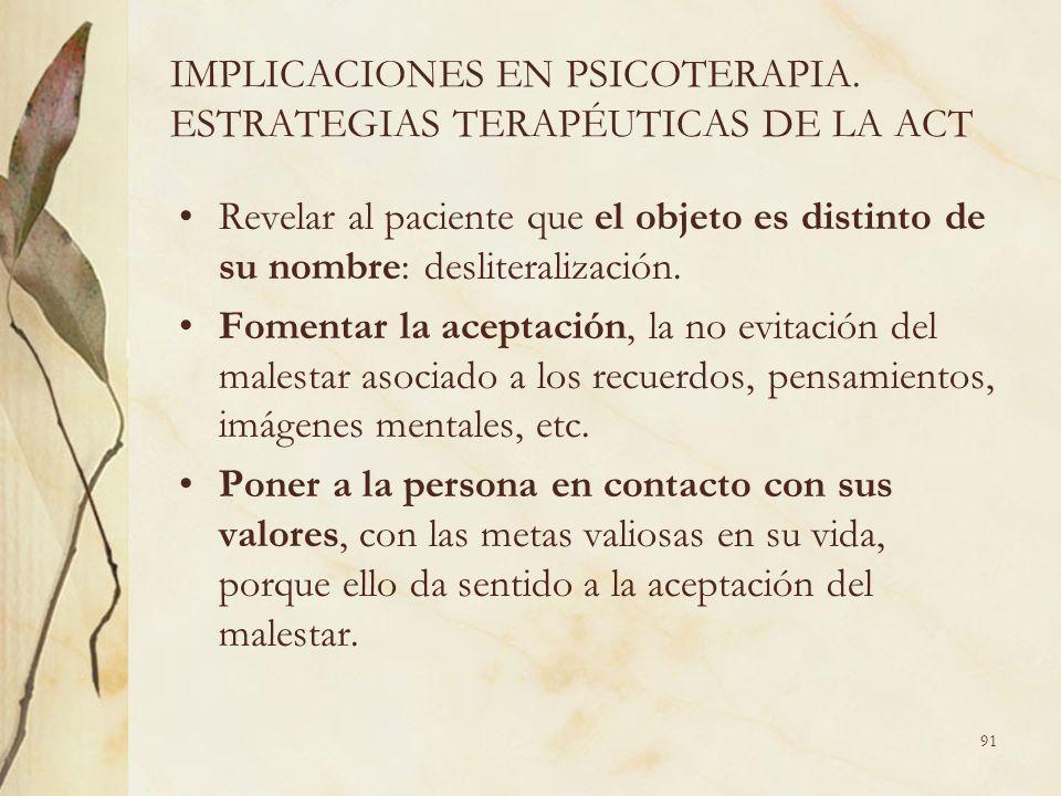 IMPLICACIONES EN PSICOTERAPIA. ESTRATEGIAS TERAPÉUTICAS DE LA ACT Revelar al paciente que el objeto es distinto de su nombre: desliteralización. Fomen