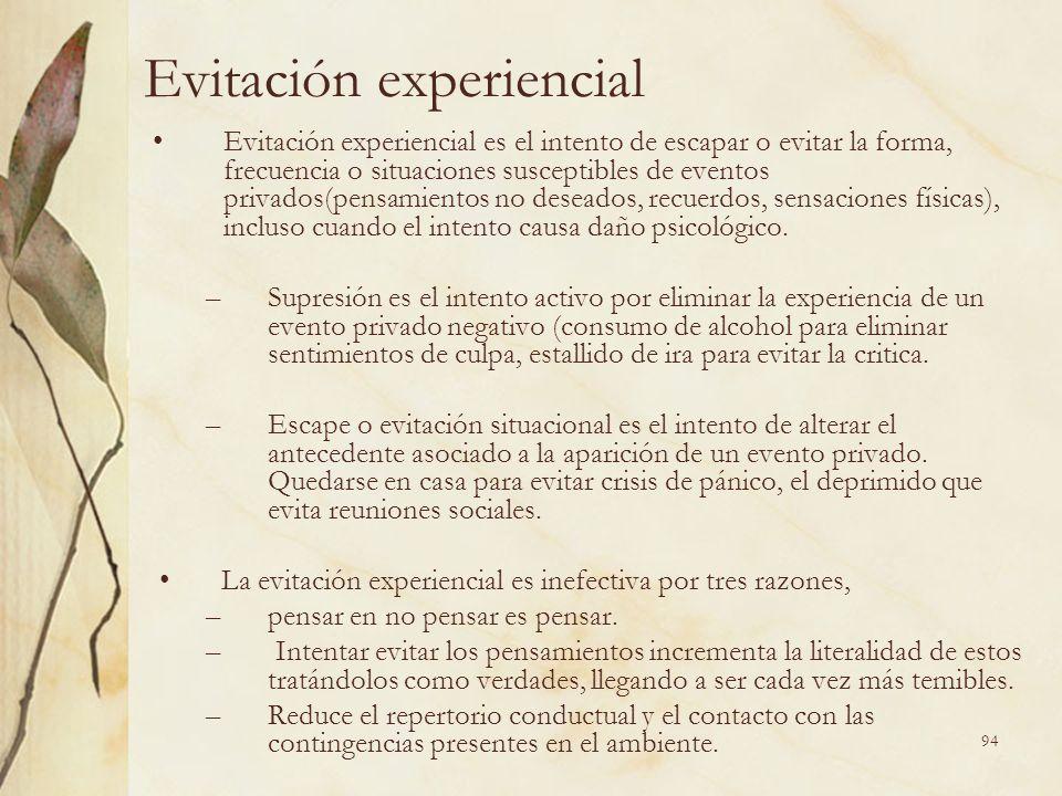 Evitación experiencial Evitación experiencial es el intento de escapar o evitar la forma, frecuencia o situaciones susceptibles de eventos privados(pe