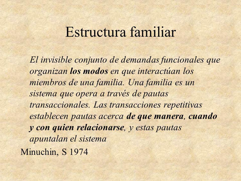 Estructura familiar El invisible conjunto de demandas funcionales que organizan los modos en que interactúan los miembros de una familia. Una familia