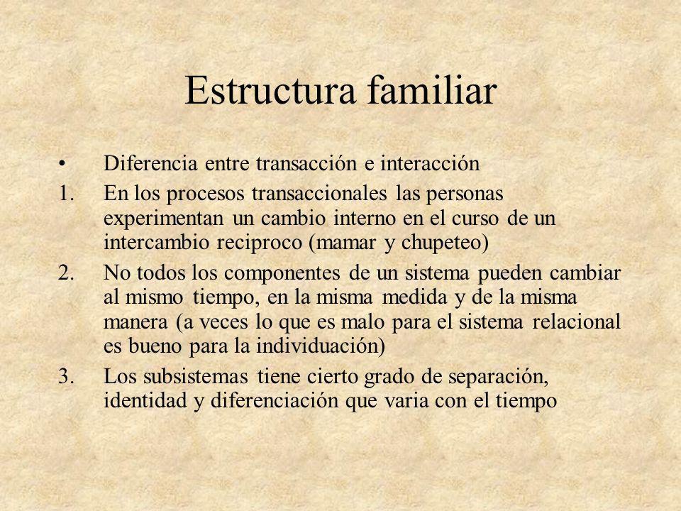 Estructura familiar Diferencia entre transacción e interacción 1.En los procesos transaccionales las personas experimentan un cambio interno en el cur