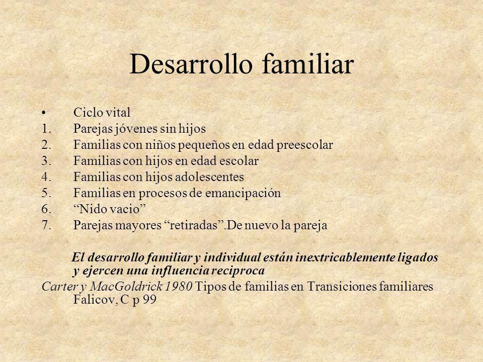 Desarrollo familiar Ciclo vital 1.Parejas jóvenes sin hijos 2.Familias con niños pequeños en edad preescolar 3.Familias con hijos en edad escolar 4.Fa