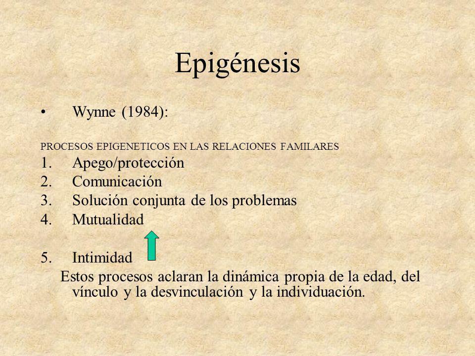 Epigénesis Wynne (1984): PROCESOS EPIGENETICOS EN LAS RELACIONES FAMILARES 1.Apego/protección 2.Comunicación 3.Solución conjunta de los problemas 4.Mu