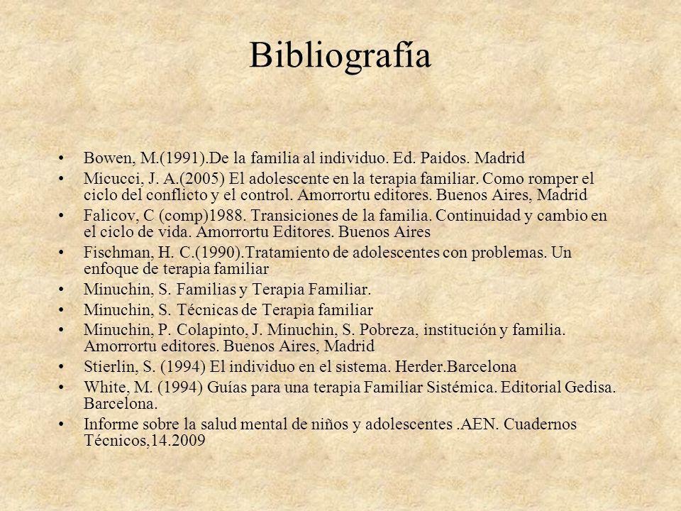 Bibliografía Bowen, M.(1991).De la familia al individuo. Ed. Paidos. Madrid Micucci, J. A.(2005) El adolescente en la terapia familiar. Como romper el