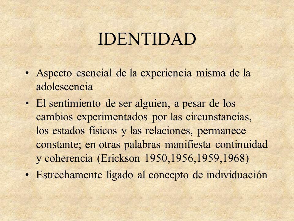 IDENTIDAD Aspecto esencial de la experiencia misma de la adolescencia El sentimiento de ser alguien, a pesar de los cambios experimentados por las cir