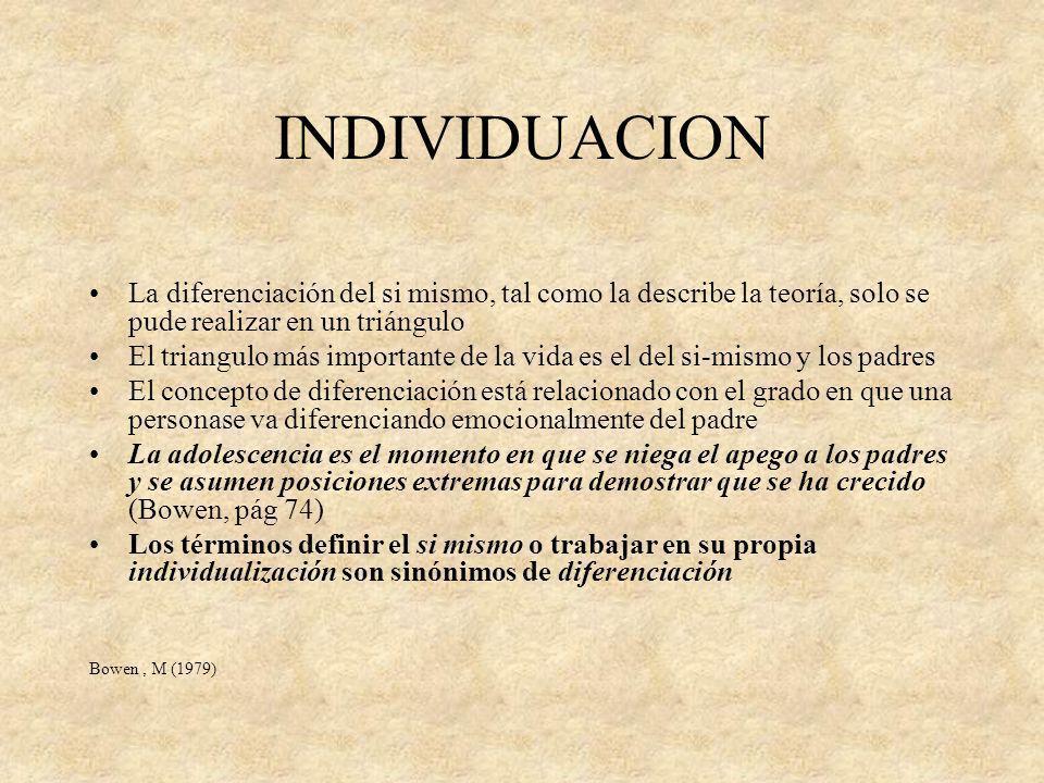 INDIVIDUACION La diferenciación del si mismo, tal como la describe la teoría, solo se pude realizar en un triángulo El triangulo más importante de la