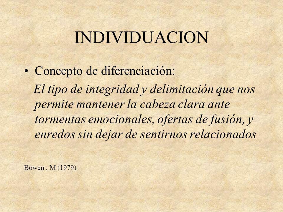 INDIVIDUACION Concepto de diferenciación: El tipo de integridad y delimitación que nos permite mantener la cabeza clara ante tormentas emocionales, of