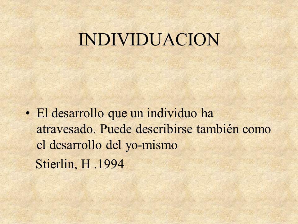 INDIVIDUACION El desarrollo que un individuo ha atravesado. Puede describirse también como el desarrollo del yo-mismo Stierlin, H.1994