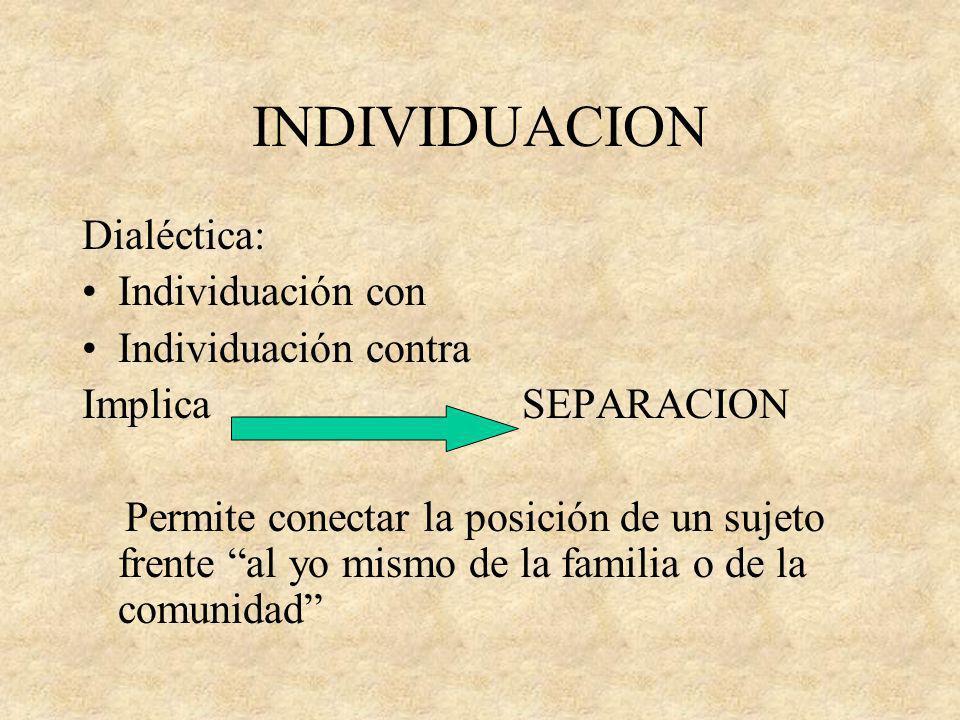 INDIVIDUACION Dialéctica: Individuación con Individuación contra Implica SEPARACION Permite conectar la posición de un sujeto frente al yo mismo de la