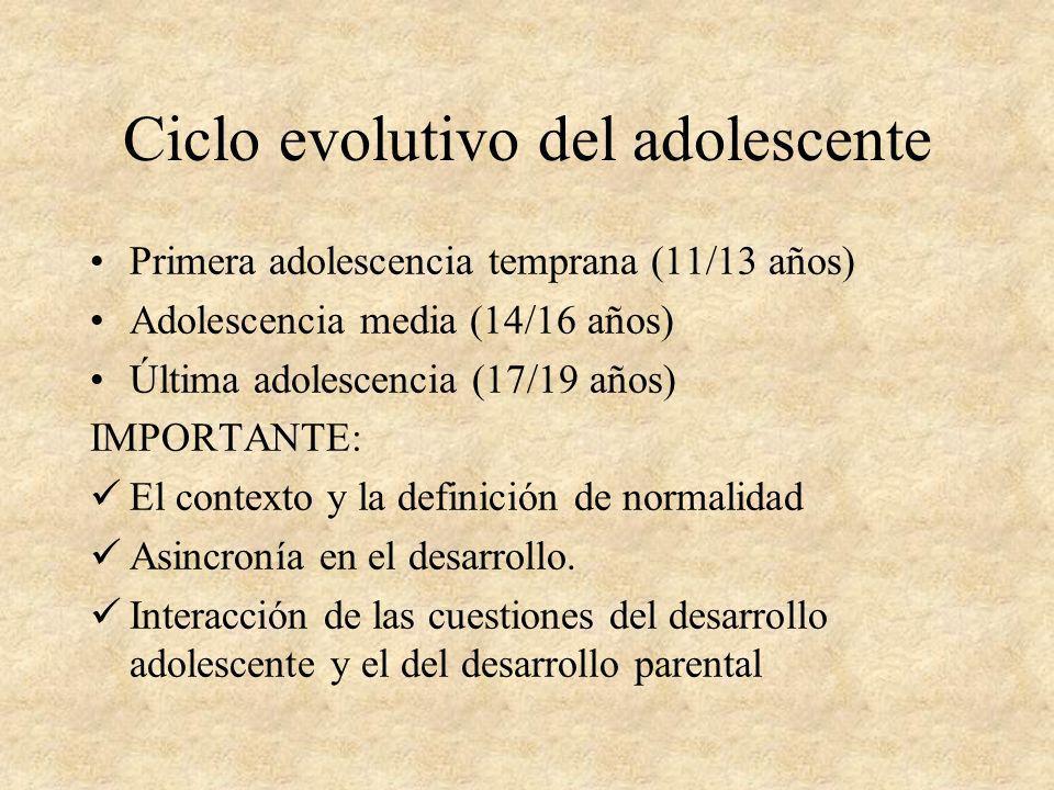 Ciclo evolutivo del adolescente Primera adolescencia temprana (11/13 años) Adolescencia media (14/16 años) Última adolescencia (17/19 años) IMPORTANTE