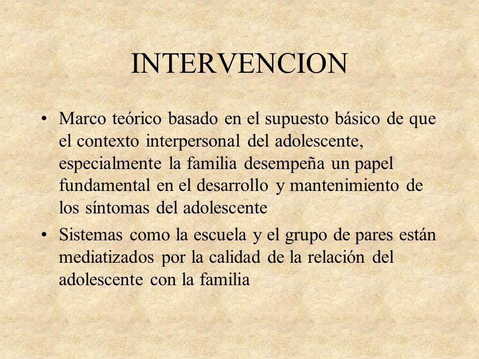 INTERVENCION Marco teórico basado en el supuesto básico de que el contexto interpersonal del adolescente, especialmente la familia desempeña un papel