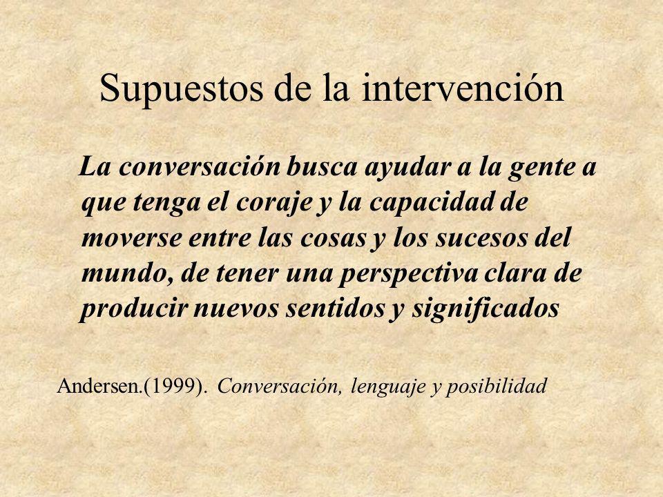 Supuestos de la intervención La conversación busca ayudar a la gente a que tenga el coraje y la capacidad de moverse entre las cosas y los sucesos del