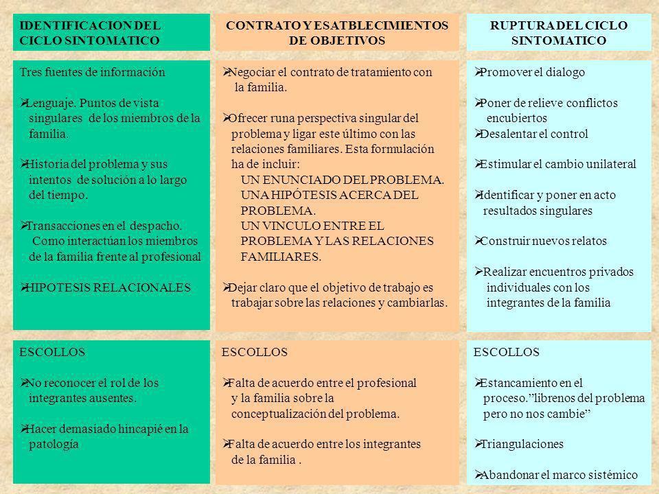 IDENTIFICACION DEL CICLO SINTOMATICO CONTRATO Y ESATBLECIMIENTOS DE OBJETIVOS RUPTURA DEL CICLO SINTOMATICO Tres fuentes de información Lenguaje. Punt