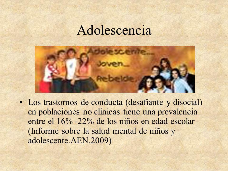 Adolescencia Los trastornos de conducta (desafiante y disocial) en poblaciones no clínicas tiene una prevalencia entre el 16% -22% de los niños en eda