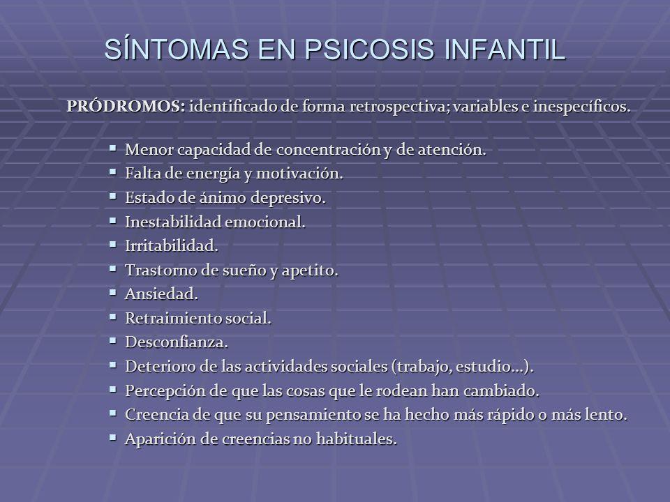 SÍNTOMAS EN PSICOSIS INFANTIL PRÓDROMOS: identificado de forma retrospectiva; variables e inespecíficos. Menor capacidad de concentración y de atenció