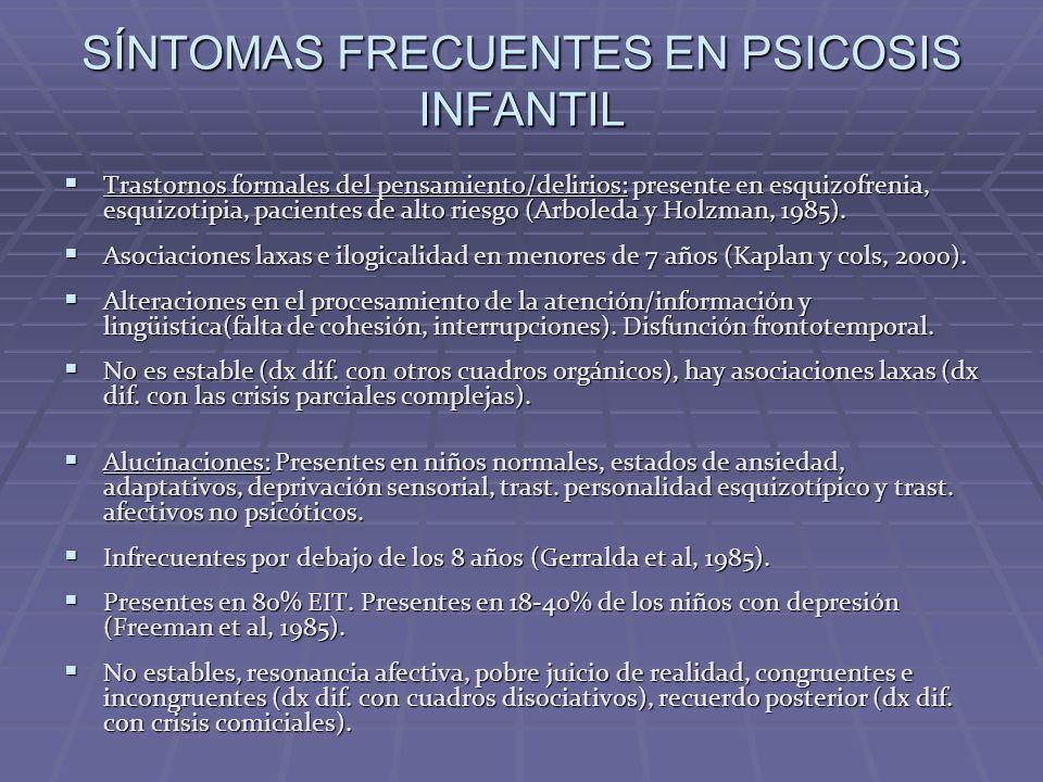 SÍNTOMAS FRECUENTES EN PSICOSIS INFANTIL Trastornos formales del pensamiento/delirios: presente en esquizofrenia, esquizotipia, pacientes de alto ries