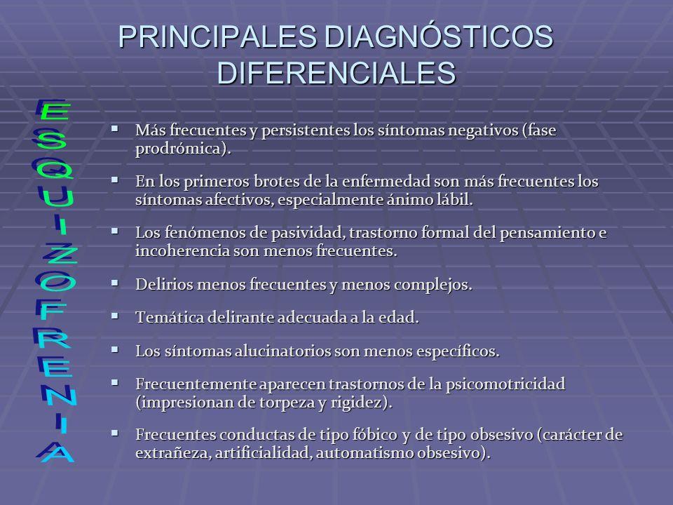 PRINCIPALES DIAGNÓSTICOS DIFERENCIALES Más frecuentes y persistentes los síntomas negativos (fase prodrómica). Más frecuentes y persistentes los sínto
