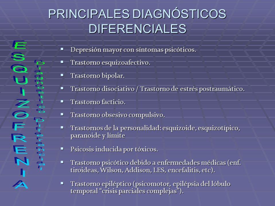 PRINCIPALES DIAGNÓSTICOS DIFERENCIALES Depresión mayor con síntomas psicóticos. Depresión mayor con síntomas psicóticos. Trastorno esquizoafectivo. Tr