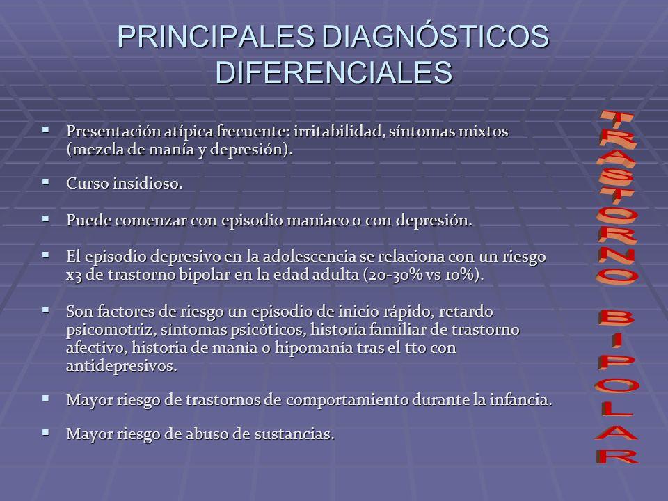 PRINCIPALES DIAGNÓSTICOS DIFERENCIALES Presentación atípica frecuente: irritabilidad, síntomas mixtos (mezcla de manía y depresión). Presentación atíp
