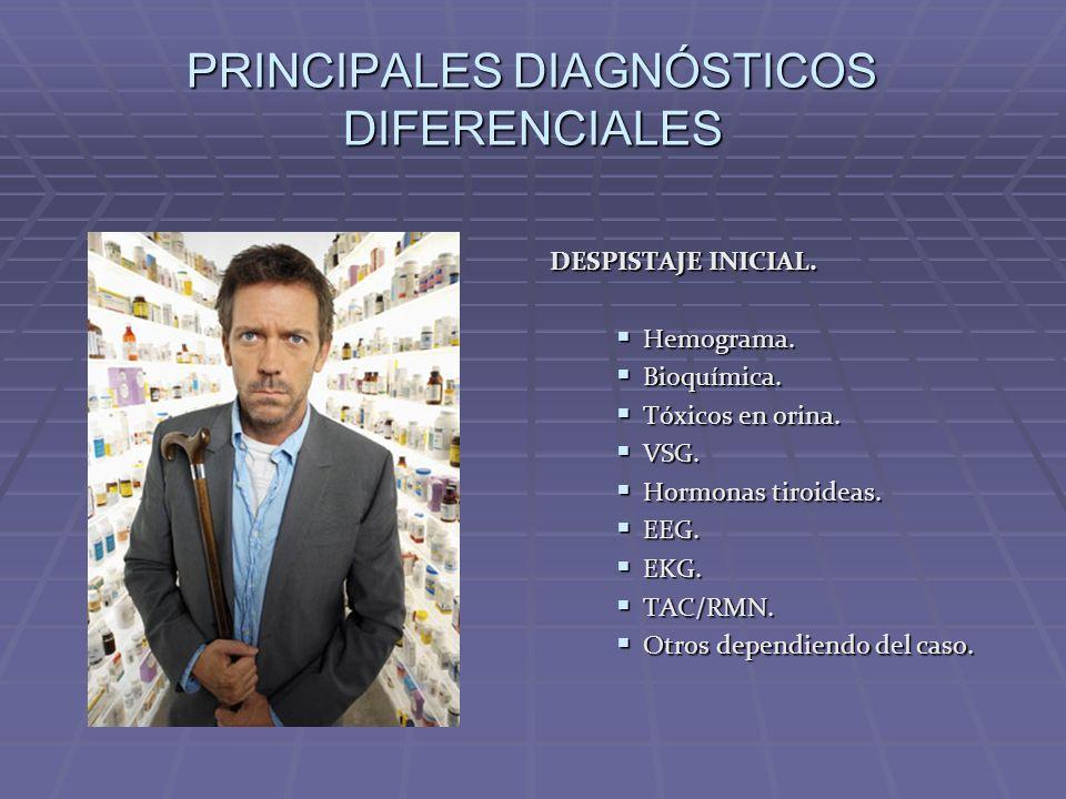 PRINCIPALES DIAGNÓSTICOS DIFERENCIALES DESPISTAJE INICIAL. Hemograma. Hemograma. Bioquímica. Bioquímica. Tóxicos en orina. Tóxicos en orina. VSG. VSG.