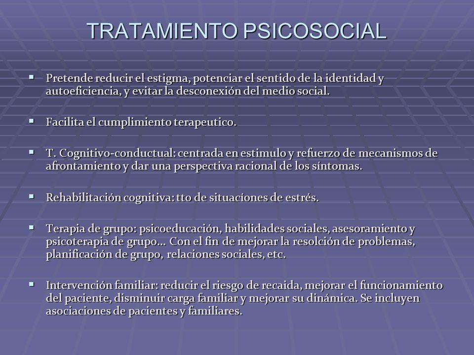 TRATAMIENTO PSICOSOCIAL Pretende reducir el estigma, potenciar el sentido de la identidad y autoeficiencia, y evitar la desconexión del medio social.