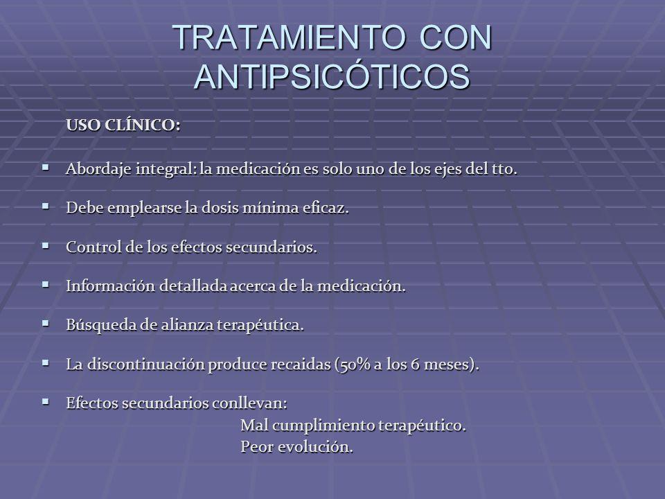 TRATAMIENTO CON ANTIPSICÓTICOS USO CLÍNICO: Abordaje integral: la medicación es solo uno de los ejes del tto. Abordaje integral: la medicación es solo