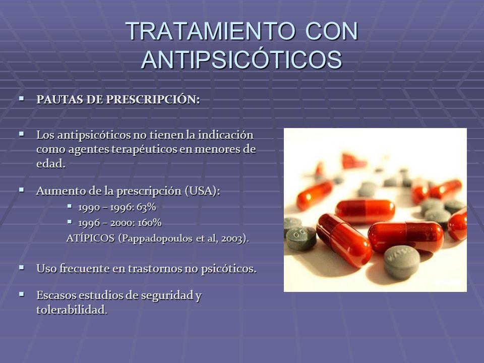 TRATAMIENTO CON ANTIPSICÓTICOS PAUTAS DE PRESCRIPCIÓN: Los antipsicóticos no tienen la indicación como agentes terapéuticos en menores de edad. Aument