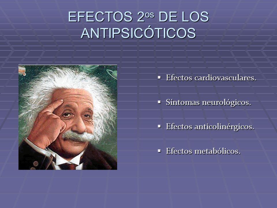 EFECTOS 2 os DE LOS ANTIPSICÓTICOS Efectos cardiovasculares. Síntomas neurológicos. Efectos anticolinérgicos. Efectos metabólicos.