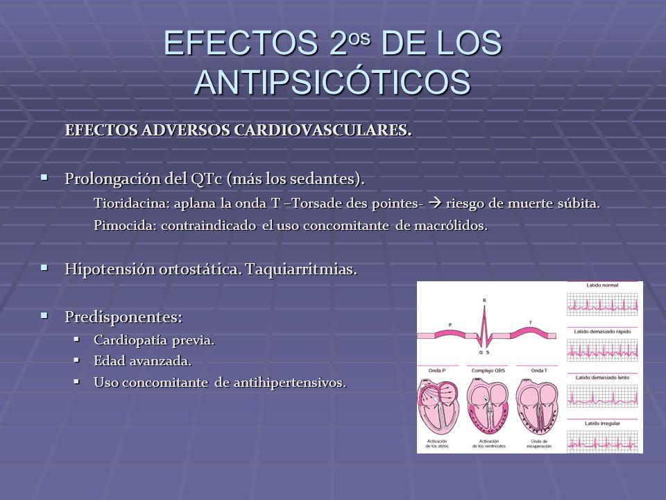 EFECTOS 2 os DE LOS ANTIPSICÓTICOS EFECTOS ADVERSOS CARDIOVASCULARES. Prolongación del QTc (más los sedantes). Prolongación del QTc (más los sedantes)