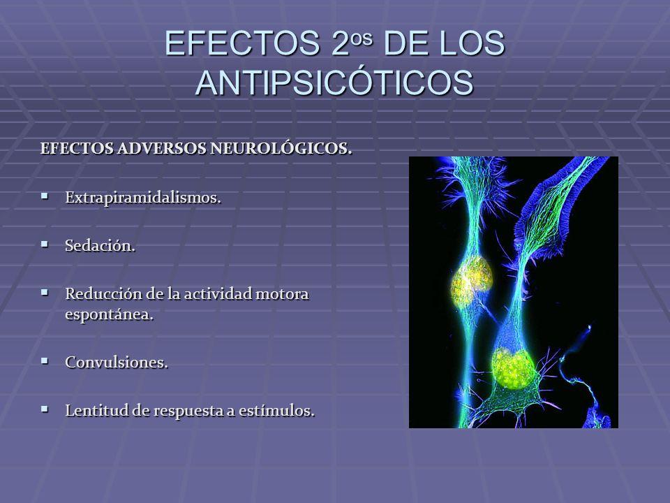 EFECTOS 2 os DE LOS ANTIPSICÓTICOS EFECTOS ADVERSOS NEUROLÓGICOS. Extrapiramidalismos. Extrapiramidalismos. Sedación. Sedación. Reducción de la activi