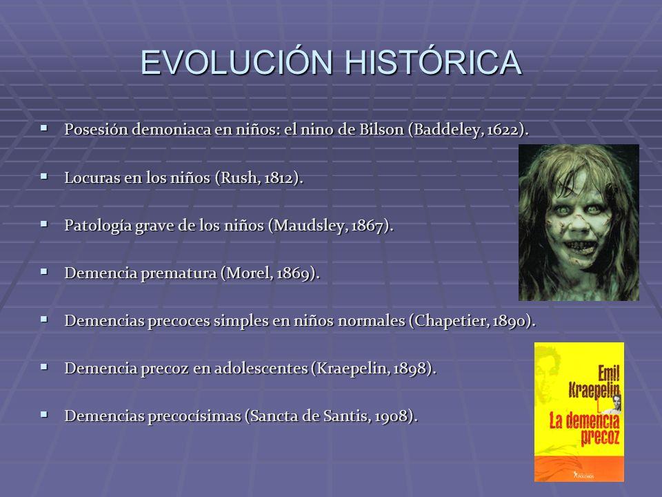 EVOLUCIÓN HISTÓRICA Años 20-30: Referencias en líbros de texto (Homberger, 1926; Kanner, 1935).