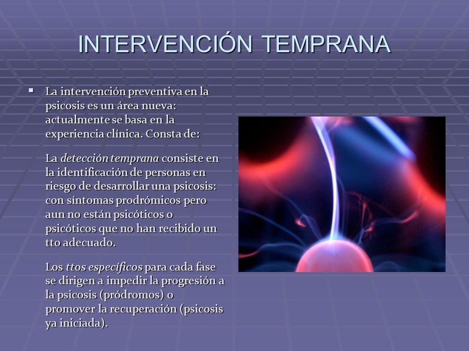 INTERVENCIÓN TEMPRANA La intervención preventiva en la psicosis es un área nueva: actualmente se basa en la experiencia clínica. Consta de: La interve