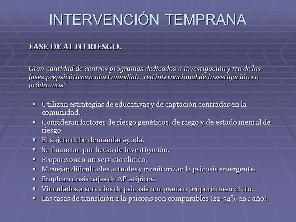 INTERVENCIÓN TEMPRANA FASE DE ALTO RIESGO. Gran cantidad de centros programas dedicados a investigación y tto de las fases prepsicóticas a nivel mundi
