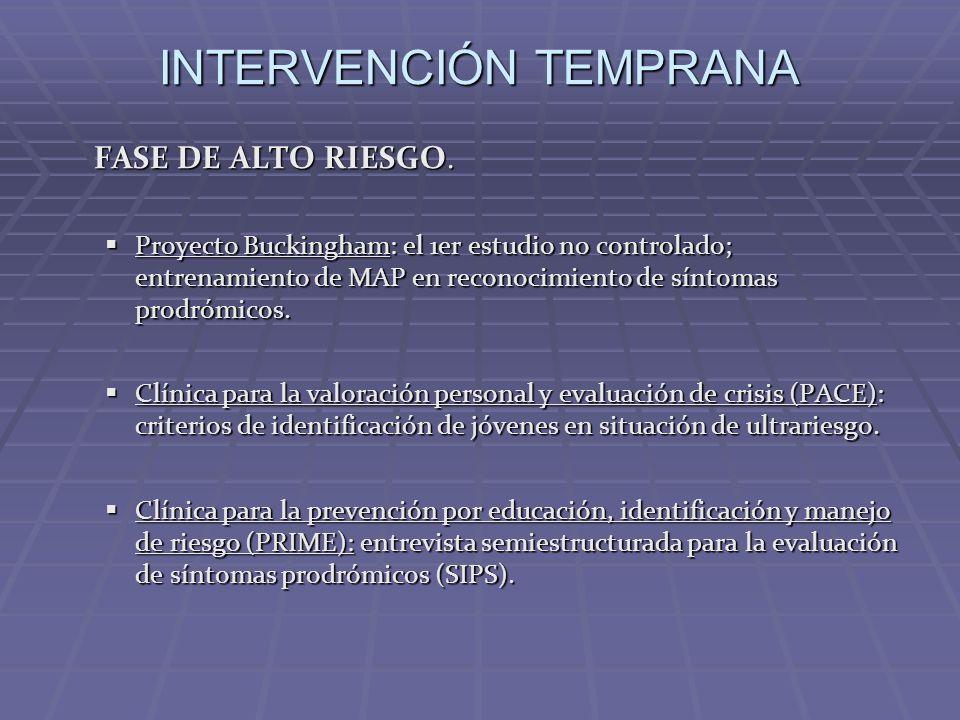 INTERVENCIÓN TEMPRANA FASE DE ALTO RIESGO. Proyecto Buckingham: el 1er estudio no controlado; entrenamiento de MAP en reconocimiento de síntomas prodr