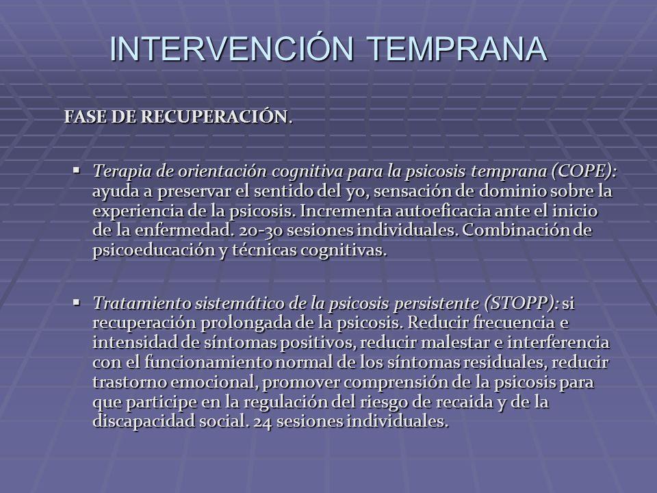 INTERVENCIÓN TEMPRANA FASE DE RECUPERACIÓN. Terapia de orientación cognitiva para la psicosis temprana (COPE): ayuda a preservar el sentido del yo, se