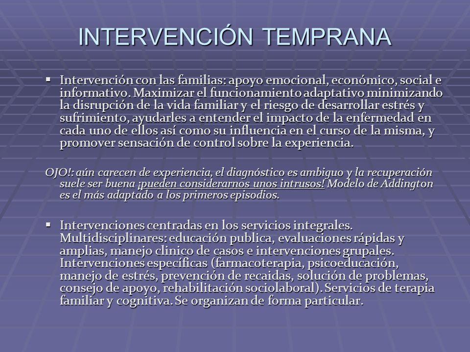 Intervención con las familias: apoyo emocional, económico, social e informativo. Maximizar el funcionamiento adaptativo minimizando la disrupción de l